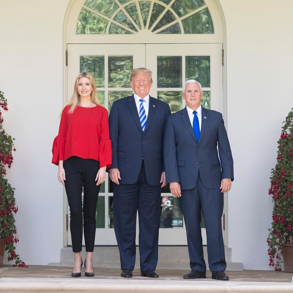 ivanka trump with president, father donald trump and vice presidents mike pence